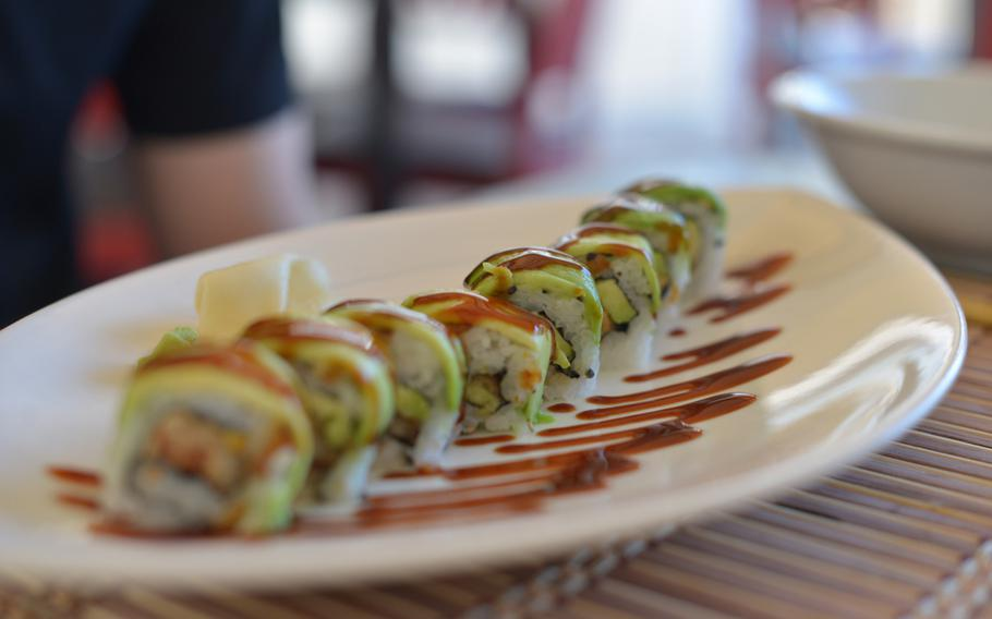 """The """"Dragon"""" roll at Mò Sushi in Pozzuoli, Italy, combines a slab of avocado on the outside with a warm piece of fried eel on the inside."""