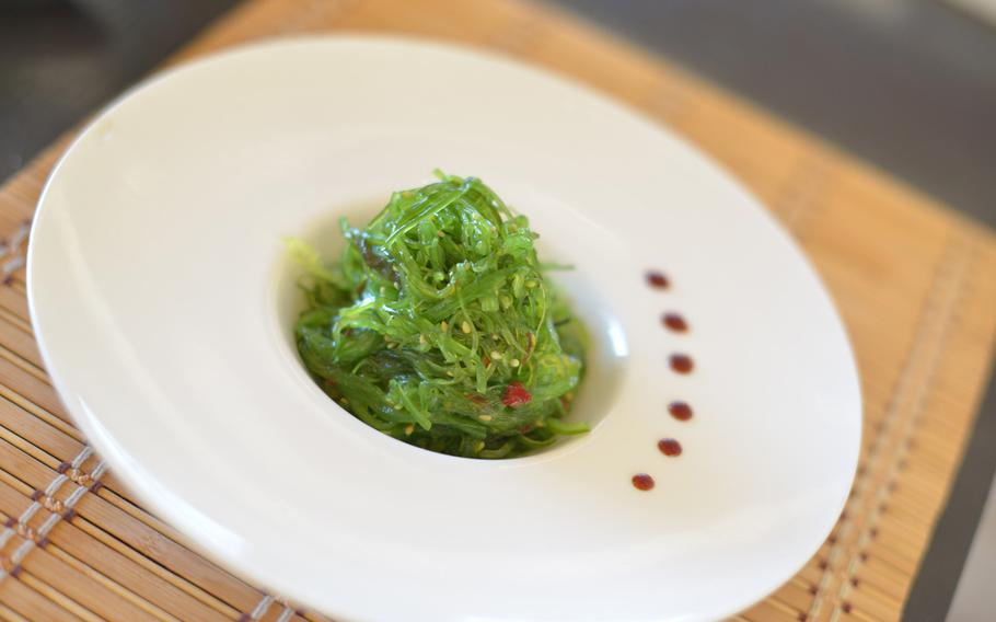 """""""Goma wakame,"""" or seaweed salad, offers  a tangy, slightly fishy and very fresh start to any meal at Mò Sushi in Pozzuoli, Italy."""