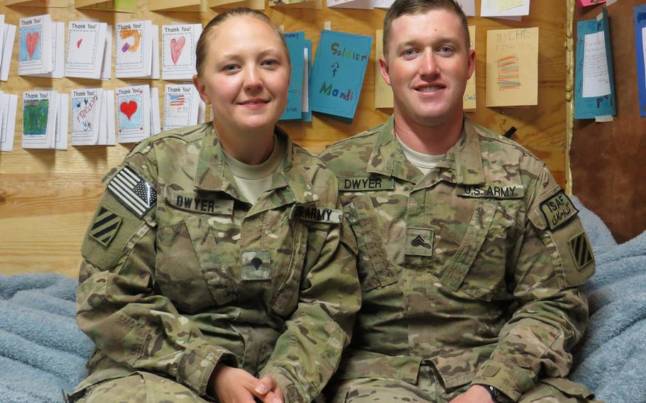 Spc. Amanda Dwyer and Sgt. Jonathan Dwyer, members of the Special Troops Battalion, 4th Brigade Combat Team stationed in eastern Afghanistan, belong to an extremely small minority of married Army couples who deploy to a war zone with the same platoon.