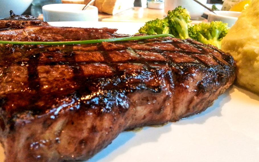 The 700g T-bone steak cooked medium rare at the Meat Co in Adliya, Bahrain.