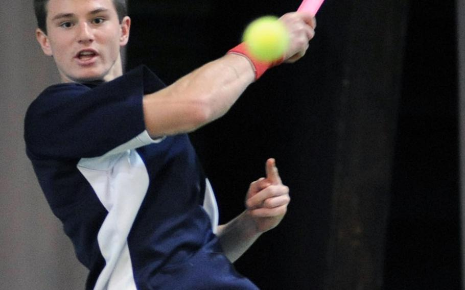 Lakenheath's Peter Kovats returns a shot over the net in his 6-0, 6-0 semifinal loss to Ajdin Tahirovic of Patch. Kovats is competing this year in DODDS-Europe tennis, although Tahirovic, a two-time DODDS-Europe champion and last year's champion Dimitrios Stavropoulos of SHAPE are not.  Michael Abrams/Stars and Stripes