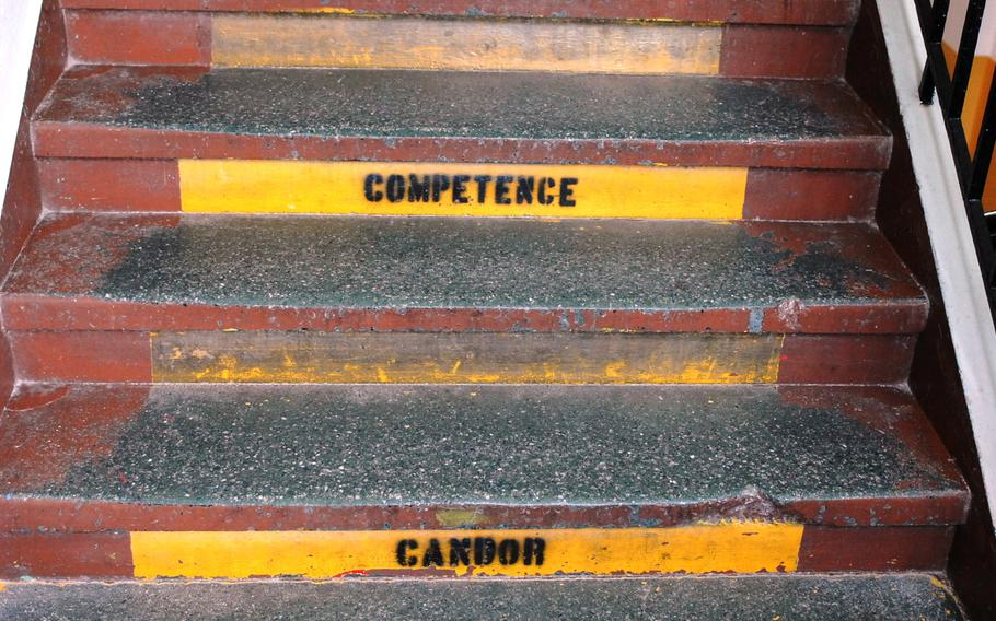 """""""Competence"""" and """"candor"""" are among the attributes emblazoned on the staircases by the building's former U.S. Army residents at Stadtmuseum Schwabach in Schwabach, Germany, on June 28. The museum, located near Nuremberg, features artifacts from World War II and the city's gold industry, among other items. Its main building was once home to the U.S. Army's O'Brien Barracks."""