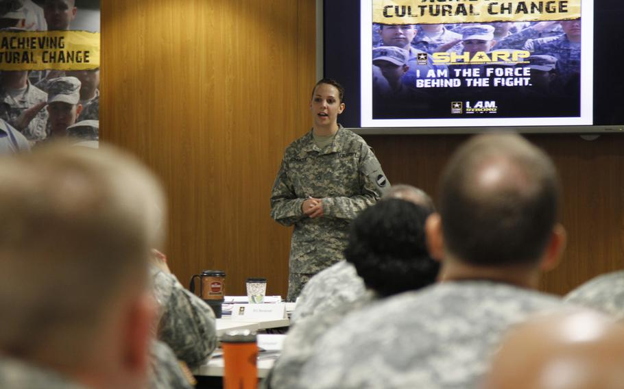 Pfc. Natasha Schuette, who was sexually assaulted by one of her drill sergeants in basic training, tells Army leaders in Europe on Sept. 19, 2013, about the ordeal she went through to report her assault. One drill sergeant ignored her report and her first sergeant attempted to kick her out of the Army for failing to adapt to the military. Lt. Gen. Donald Campbell Jr., commander of U.S. Army Europe, invited Schuette to tell her story at a Sexual Assault Awareness, Response and Prevention conference for senior Army leaders in Europe.