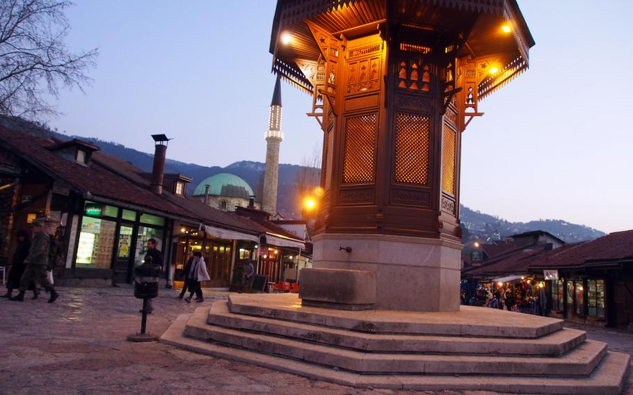 The fountain in Sarajevo's Bascarsije, or Old Town, where skiers will find ancient buildings, winding lanes full of artisans, and cozy coffee shops. Sarajevo is less than an hour from Bosnia-Herzegovina's best skiing.