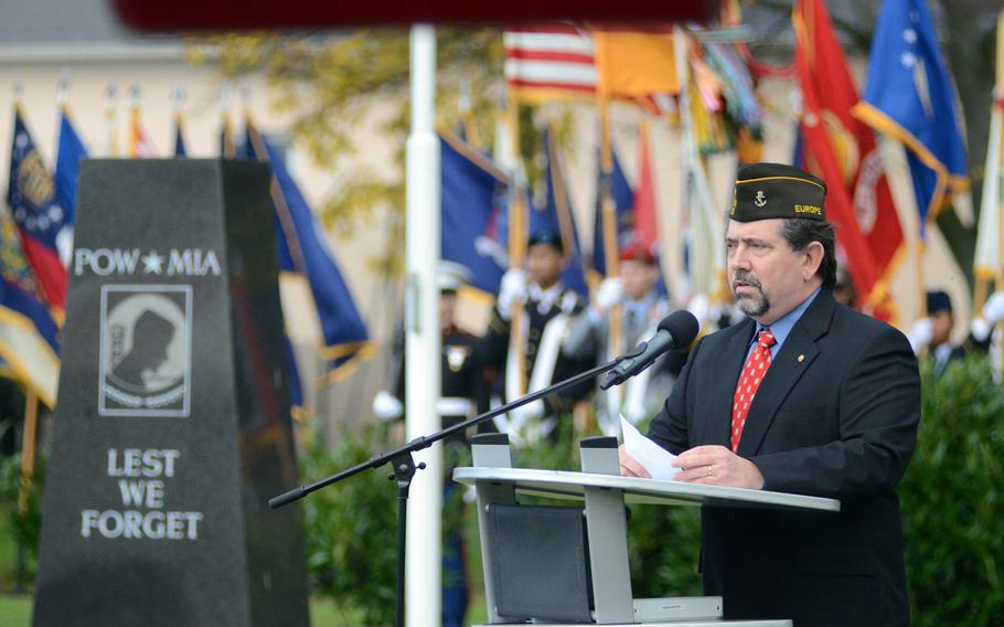James Mann, commander of Veterans of Foreign Wars Post 27, speaks during the U.S. Army Garrison Wiesbaden Veterans Day ceremony at Veterans Park on Clay Kaserne in Wiesbaden, Germany, on Thursday, Nov. 7, 2013.