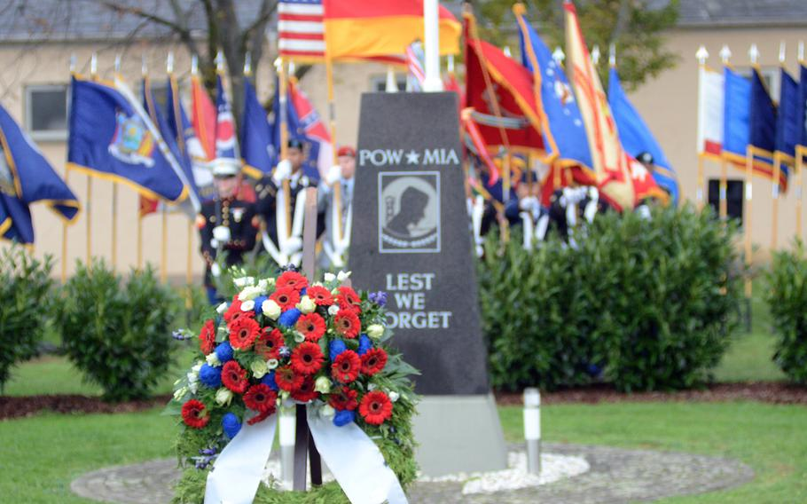 A wreath decorates the POW/MIA memorial on Clay Kaserne in Wiesbaden, Germany, on Thursday, Nov. 7, 2013. Members of U.S. Army Garrison Wiesbaden gathered to honor veterans past and present as the Veterans Day holiday weekend approached.