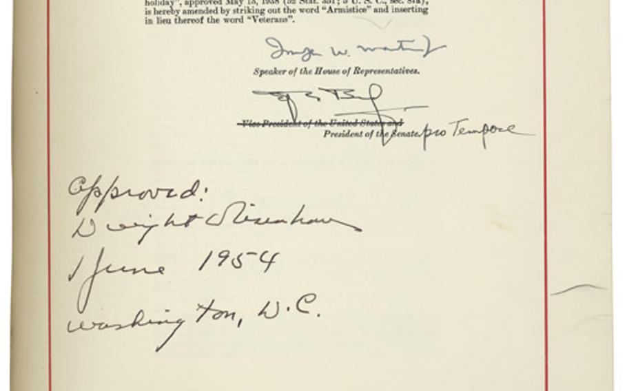 In 1954, President Dwight D. Eisenhower signed a law renaming the holiday to Veterans Day.
