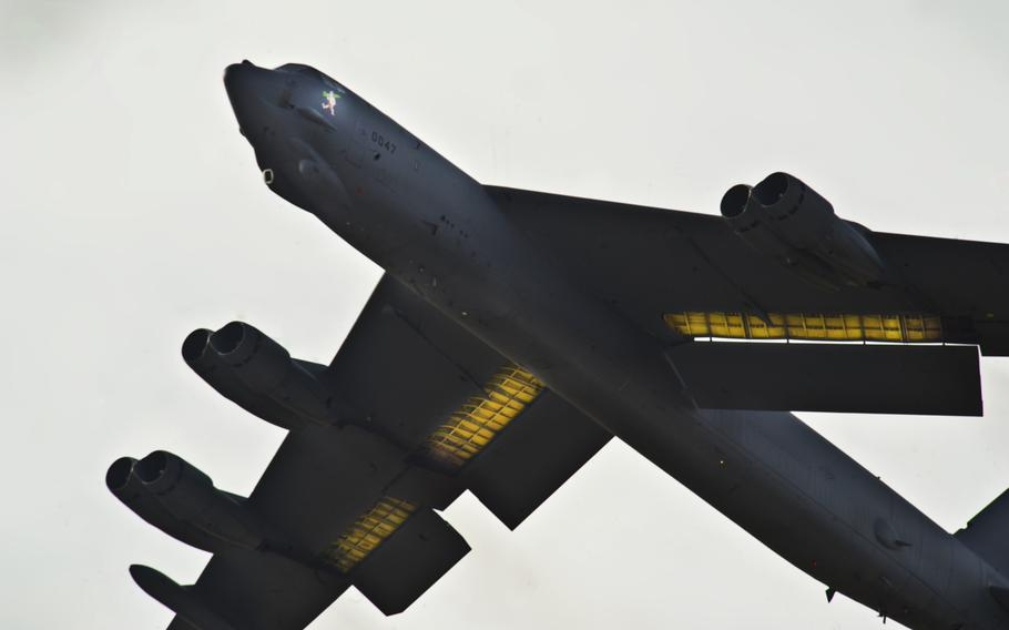 A B-52H Stratofortress takes off during a training exercise at Minot Air Force Base, N.D., on Nov. 3, 2013. Personnel from Barksdale AFB, La., also participated in the exercise.