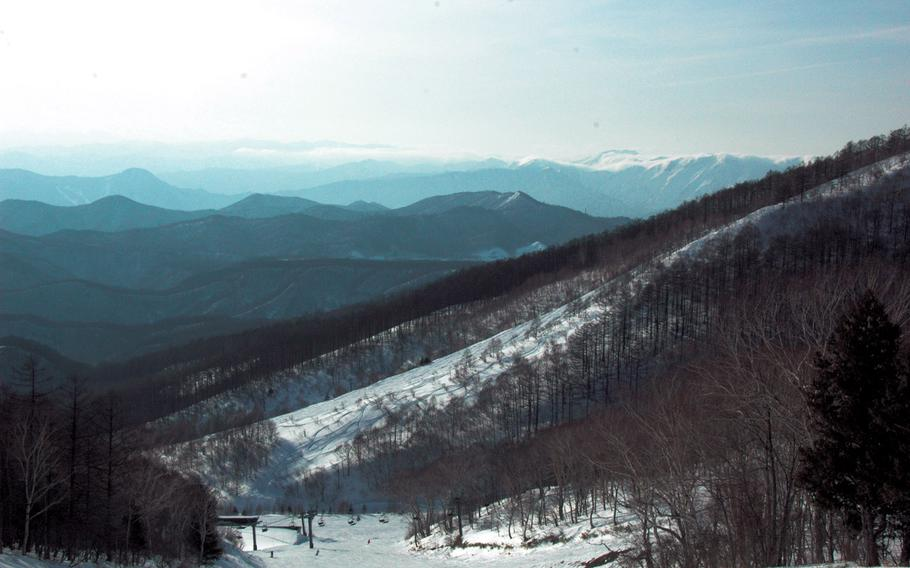 Views of the Japanese mountains from Kawaba Ski Resort are stunning on a sunny day.
