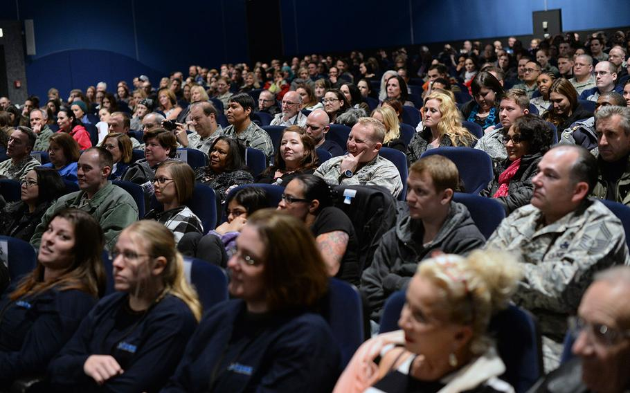 """Several hundred spectators, mostly military and family members, shared an evening with American author Stephen King on Monday, Nov. 18, 2013, on Ramstein Air Base, Germany. King came to Ramstein on his first USO tour and read from his new book, """"Doctor Sleep,"""" a sequel to """"The Shining."""""""