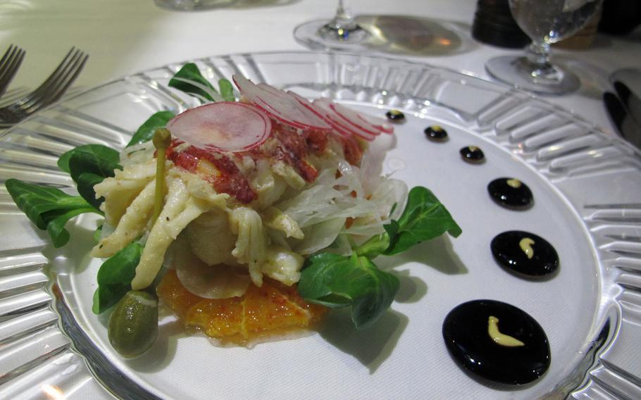 The food is beautiful, too, at tira tardi in Vicenza, Italy. Here's the lobster salad with orange and fennel.