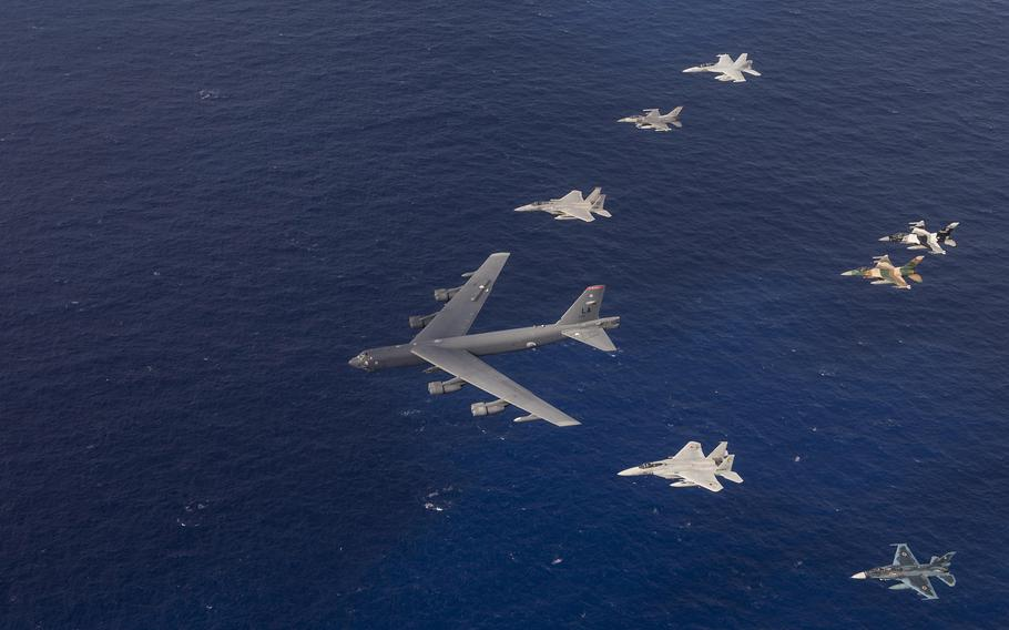 U.S. Air Force, Japan Air Self-Defense Force and Royal Australian air force aircraft fly in formation during Cope North 15, on Feb. 17, 2015, off the coast of Guam.
