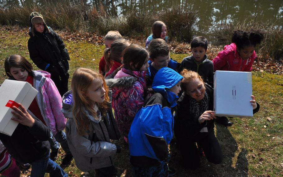 Ramstein Elementary School second-graders gather around their teacher, Yvonne Engels, to view an image of the partial solar eclipse through a handmade pinhole projector Friday morning, March 20, 2015, at Ramstein Air Base, Germany.