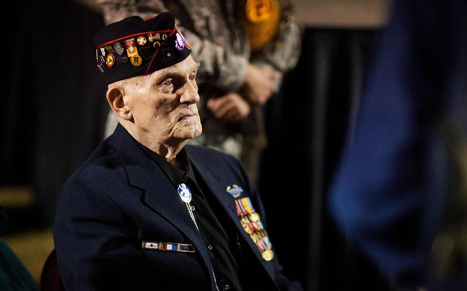 William L. Eldridge, a Bataan Death March survivor, watches the opening ceremonies OF the 26th Annual Bataan Memorial Death March at White Sands Missile Range, N.M., on March 22, 2015. Eldridge was among the more than 60,000  prisoners of war, who endured the 60-mile long March in the Philippines April 1942.