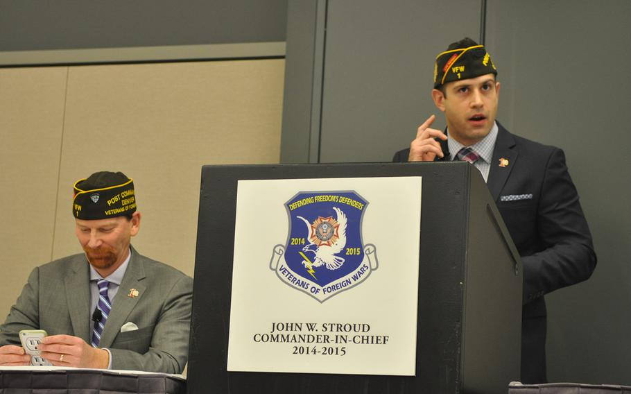 Veterans of Foreign Wars Post 1 Quartermaster Tony Adams, podium, leads a session on how to attract younger members to the VFW at the organization's annual convention in Pittsburgh Tuesday. The VFW has had trouble making inroads among post-9/11 veterans.