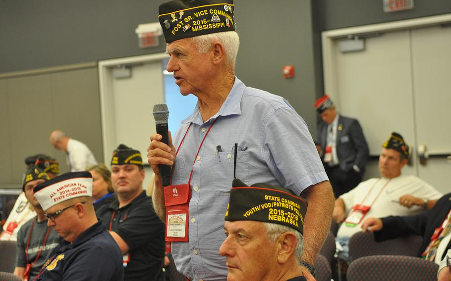 A member of the Veterans of Foreign Wars asks a question during a session on how to attract young members. The VFW's membership has been declining for years as its members age.