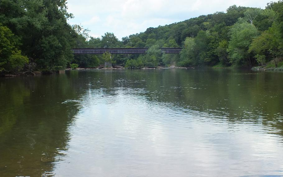 The Monocacy River, with one of the bridges defended by Union forces in the battle of Monocacy on July 9, 1864, near Frederick, Md.