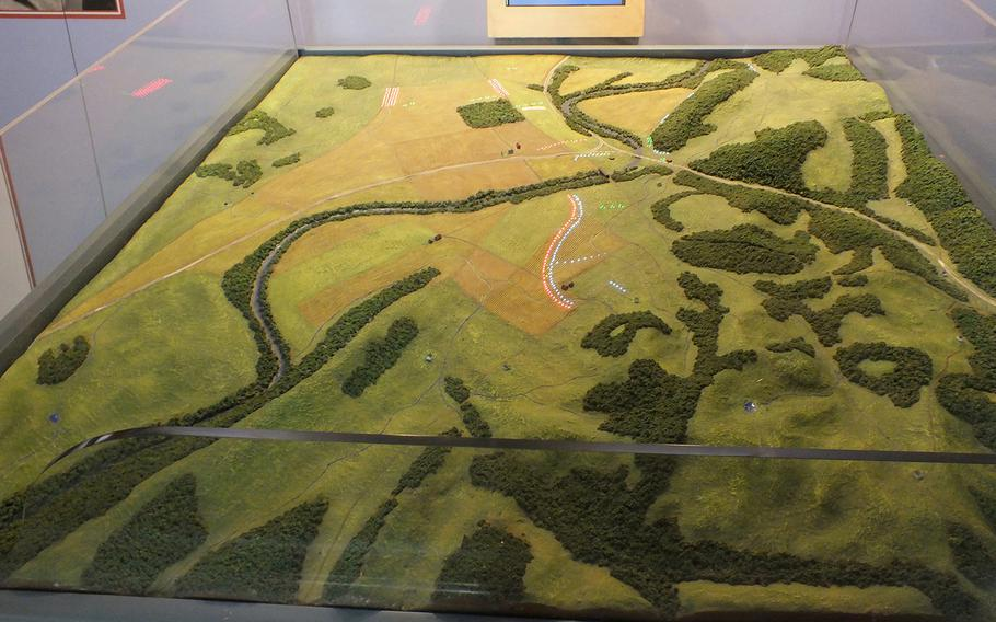 An interactive table at the Monocacy National Battlefield Park outside of Frederick, Md., showing how the fighting raged on July 9, 1864.
