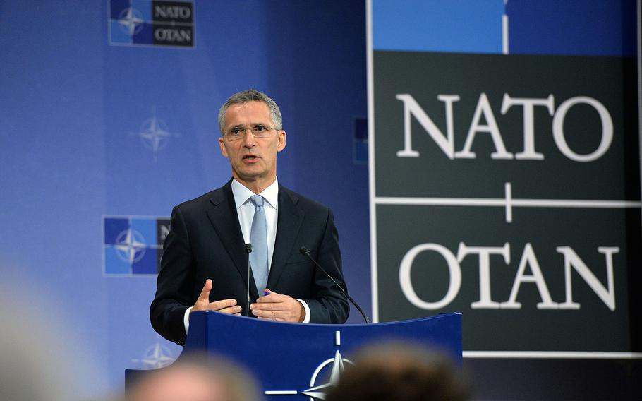 NATO Secretary General Jens Stoltenberg speaks at the alliance's headquarters in Brussels, Belgium, on Tuesday, Oct. 25, 2016.