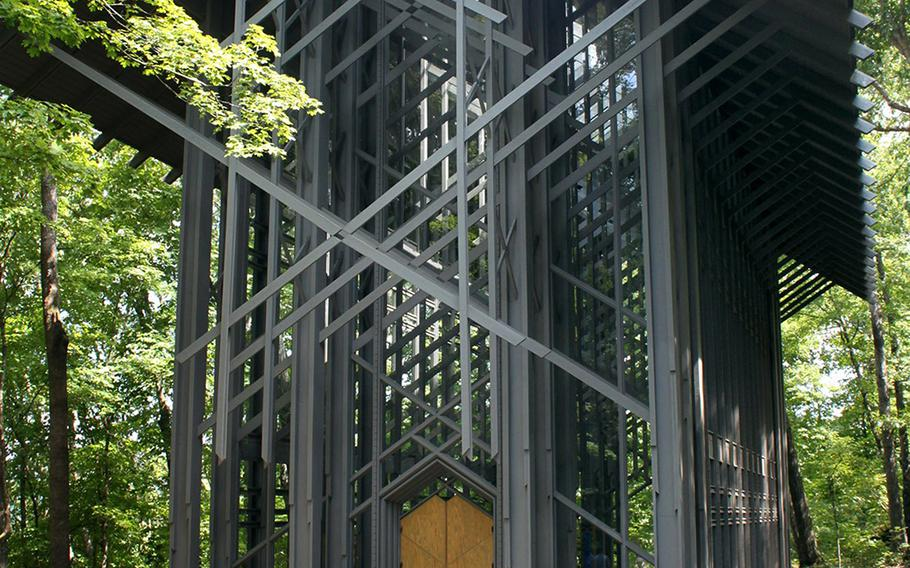 Constructed mainly of wood and glass, Thorncrown Chapel is noted as one of the most beautiful churches in America. It looks and feels like an open-air structure. Aisha Sultan/St. Louis Post-Dispatch/TNS