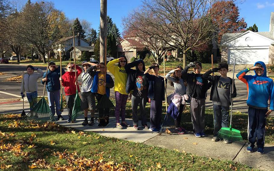 Twelve pupils from Carol Gannon's fifth-grade class at the Hebrew Day School of Ann Arbor, Mich., decided they wanted to give back to the war veterans in their neighborhood by raking their leaves