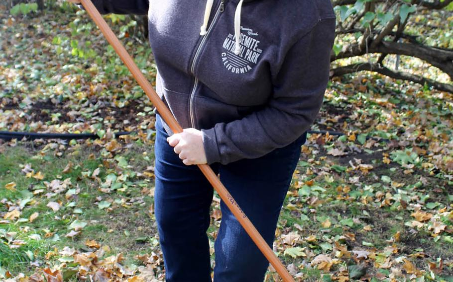 Fifth-grade teacher Carol Gannon rolls up her sleeves and digs in to the raking.