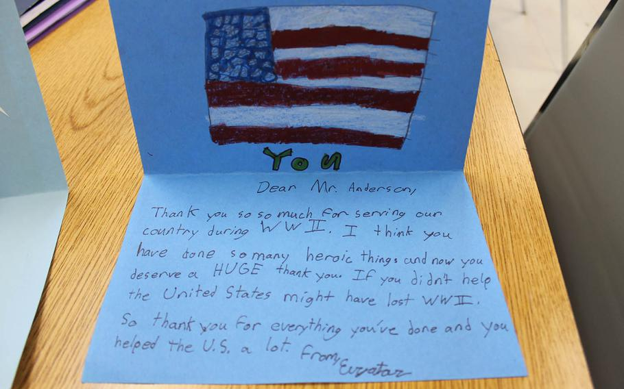 Carol Gannon's fifth-grade class made cards for Mr. Anderson to thank him for his service in World War II.