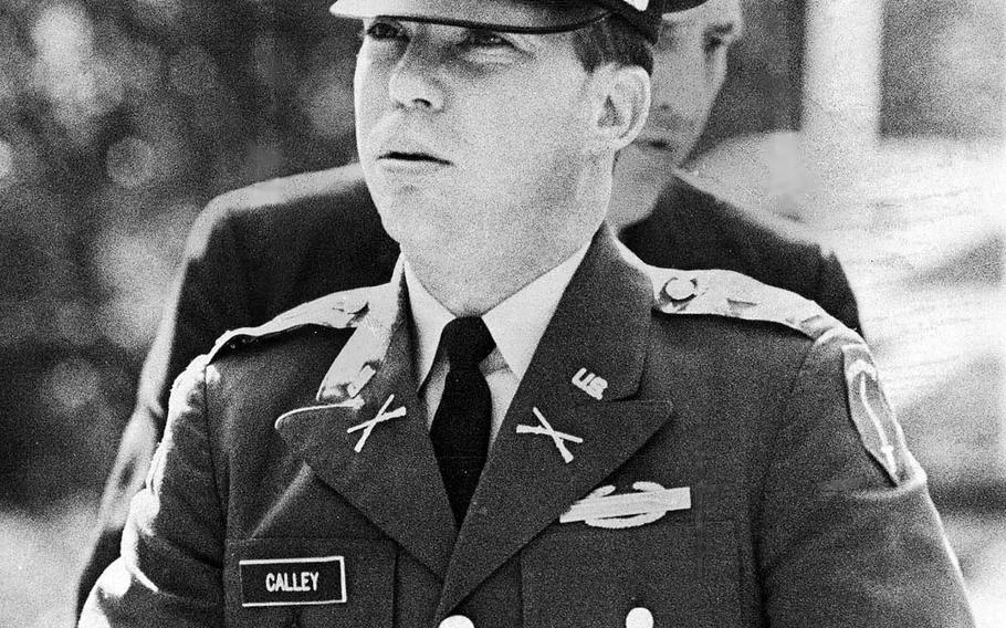 Army 1st Lt. William Calley on his way to one of his pre-trial hearings on Feb. 9, 1970.