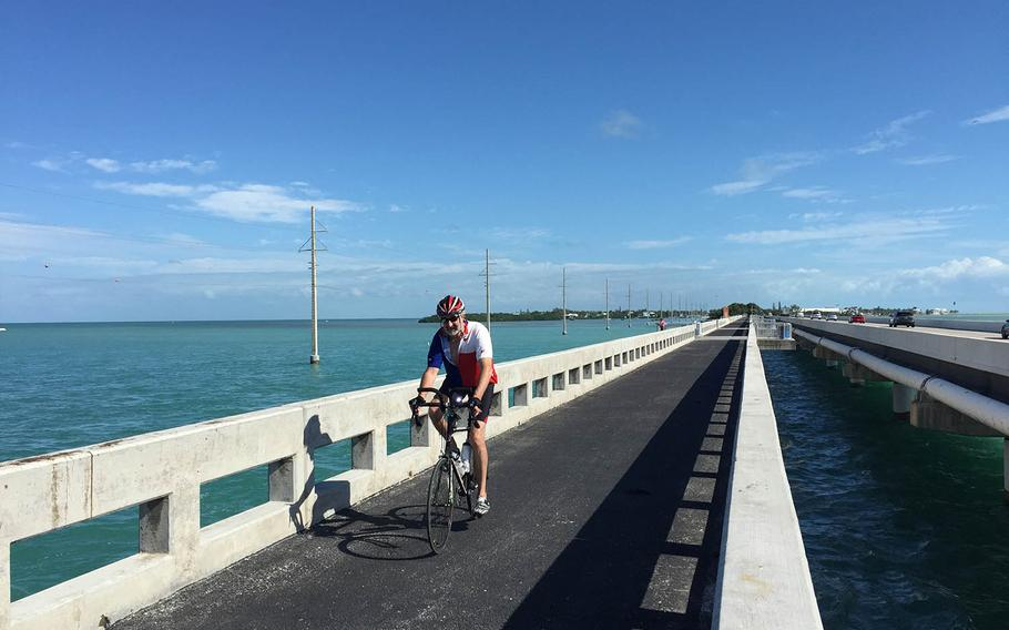 Biking in the Florida Keys is especially fun on stretches where you don't have to worry about riding next to traffic. (Lori Rackl/Chicago Tribune/TNS)