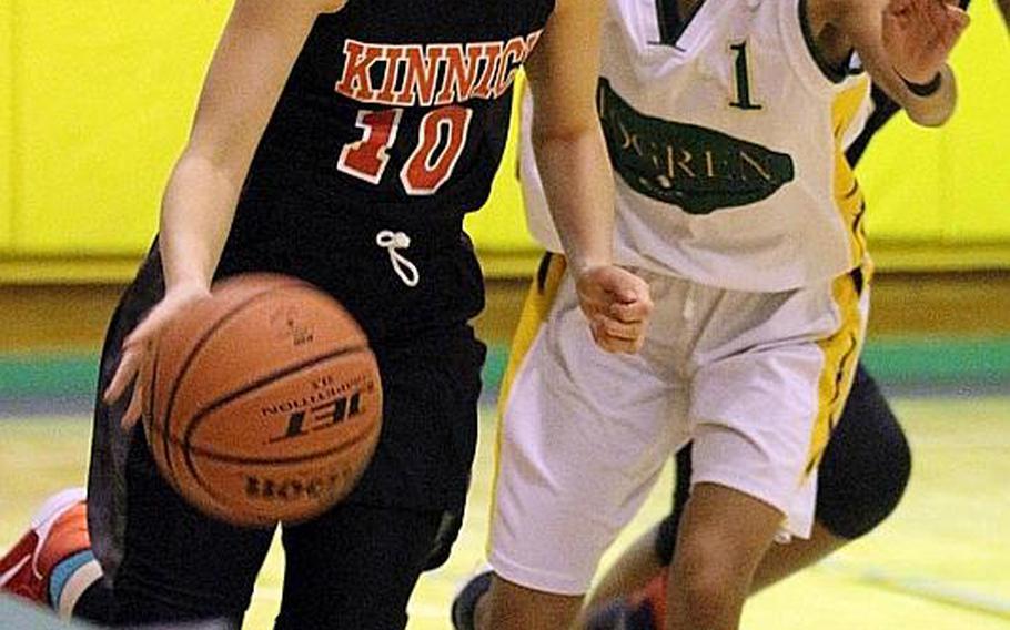 Nile C. Kinnick's Kailee Rucker dribbles against Robert D. Edgren's Aaliyah Scott during Friday's girls basketball game, won by the Red Devils 32-26.