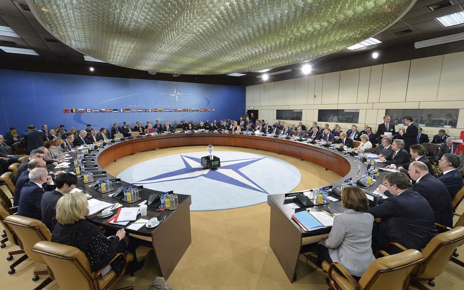 General view of the meeting of the NATO defense ministers at the alliance's headquarters in Brussels on Thursday, Feb. 16, 2017.