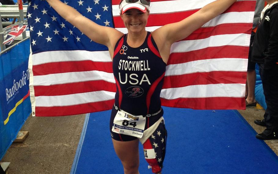 Melissa Stockwell after taking second place at the Paratriathlon World Championships in New Zealand in 2013.