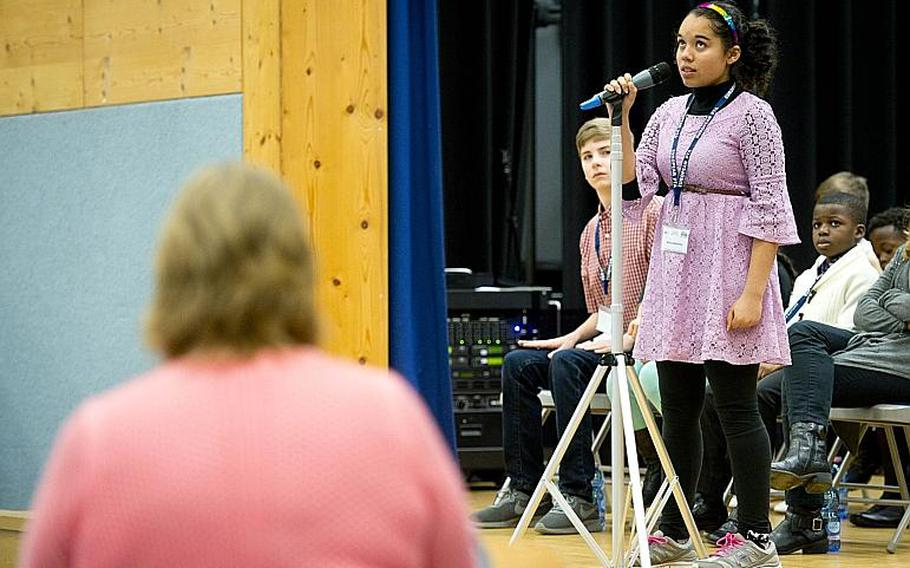 Nina Johansen searches her memory for the spelling of a word during the 35th annual European PTA Spelling Bee at Ramstein Air Base, Germany, on Saturday, March 18, 2017.