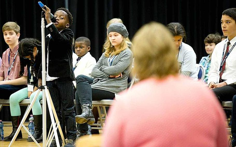 Chinonso Onyenwe, from David Glasgow Farragut Elementary School, spells a word during the 35th annual European PTA Spelling Bee at Ramstein Air Base, Germany, on Saturday, March 18, 2017. Onyenwe was the lone second-grader out of 31 elementary and middle school students competing in the bee.