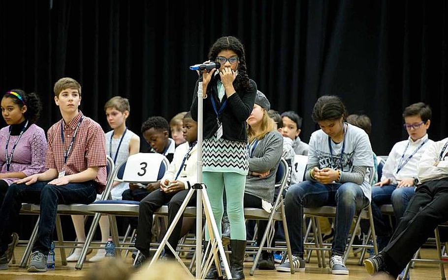Nyla Pearson, a student from Robinson Barracks Elementary School, takes a moment to think about the spelling of a word during the 35th annual European PTA Spelling Bee at Ramstein Air Base, Germany, on Saturday, March 18, 2017.