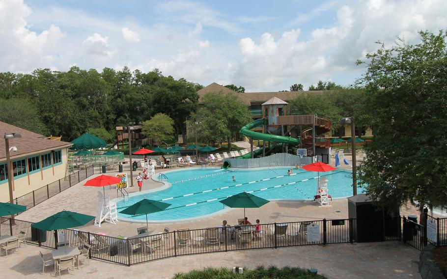 The main pool at Shades of Green is in the shape of Mickey Mouse's head and ears. Here children will find a splash area and slide as well as a dry playground. The pools at the resort are lightly used during the day, making them a great place for a park-weary parent (or child) to relax. Shades of Green is located in Lake Buena Vista, Fla., near Orlando, at Walt Disney World.