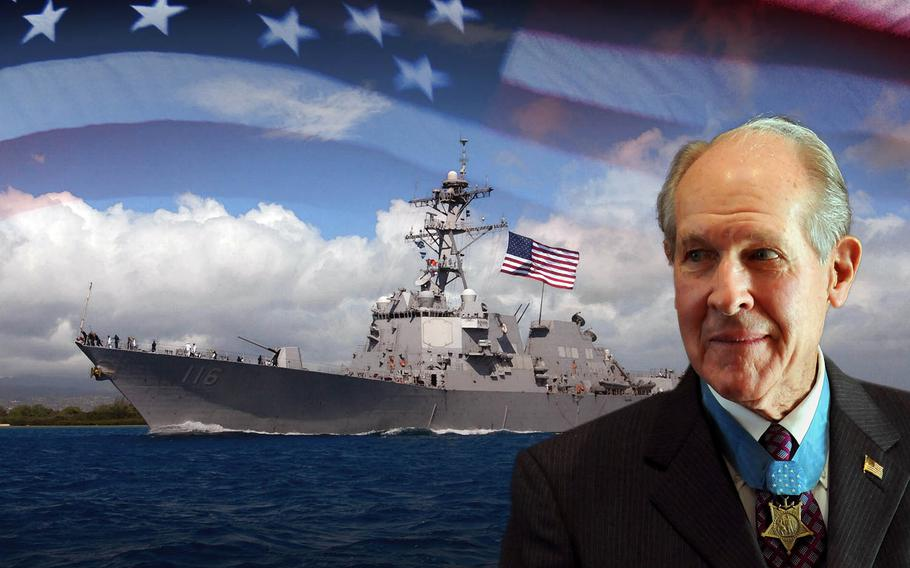 An artist's rendering of the guided-missile destroyer USS Thomas Hudner, named after a Medal of Honor recipient and retired naval aviator.