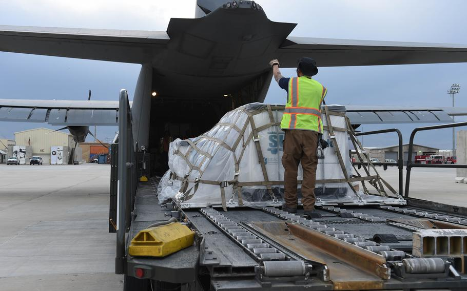 Cargo gets loaded onto a C-130J at Bagram Air Field, Afghanistan, May 4, 2017.