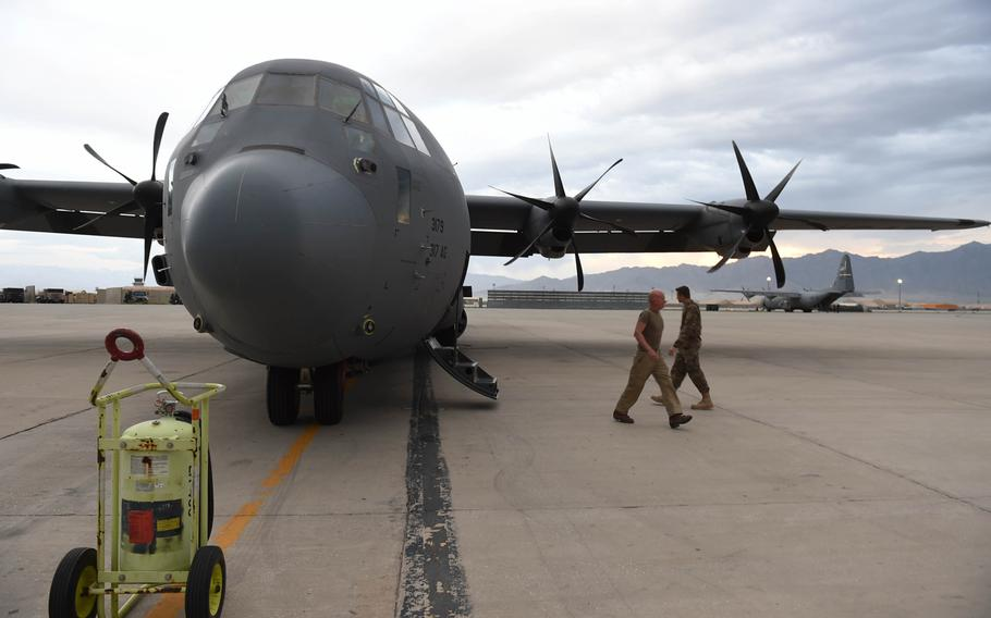 This C-130J, flown by members of the 774th Expeditionary Airlift Squadron, sits on the tarmac at Bagram Air Field, Afghanistan, May 4, 2017, shortly before a 10-hour supply run that would take it to Mazar-e-Sharif, Kandahar, and Camp Dwyer.