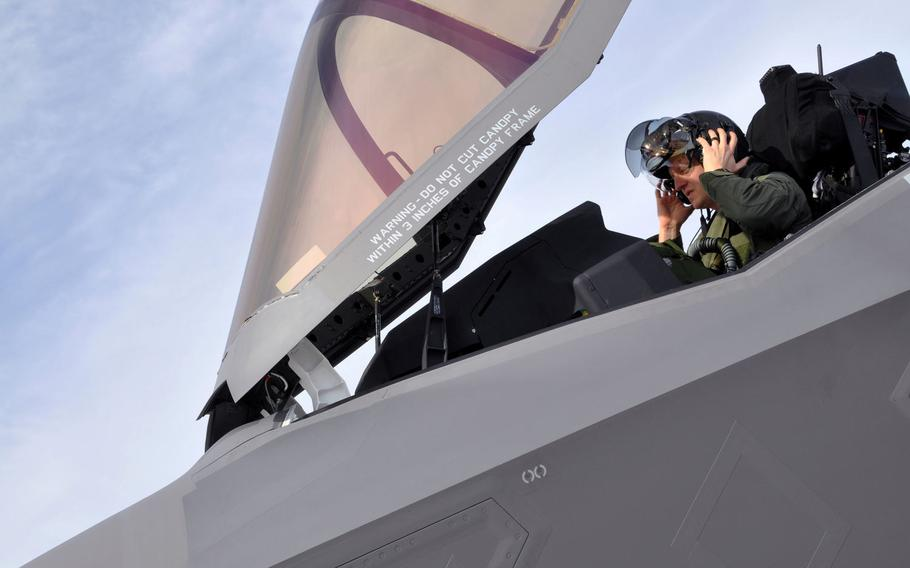F-35A pilot Lt. Col. Brad Klemesrud prepares for takeoff during a Red Flag mission at Nellis Air Force Base, Nev., on Feb. 2, 2017. The Air Force on Monday announced that it had lifted the weight restriction preventing F-35A pilots weighing less than 136 pounds from flying the aircraft. Fixes have been made to the aircraft's ejection seat and helmet reduce the high risk of severe neck injury to lighter-weight pilots.