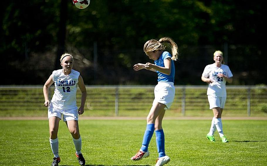 Marymount's Matilde Di Tommaso, right, heads the ball past Rota's Sydney Shaw during the DODEA-Europe soccer tournament in Landstuhl, Germany, on Wednesday, May 17, 2017. Marymount lost the Division II match 1-0.  MICHAEL B. KELLER/STARS AND STRIPES