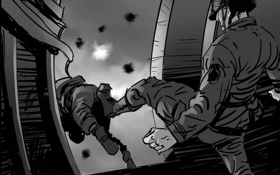 """A paratrooper is kicked out of a transport aircraft in a scene from the story boards for Dale Dye's D-Day film """"No Better Place to Die."""""""