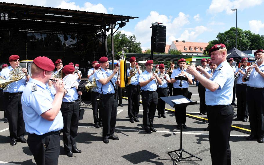 Soldiers in the German Army Band in Weiden perform at the Day of the German Army in Weiden, Germany, Saturday, June 10, 2017.
