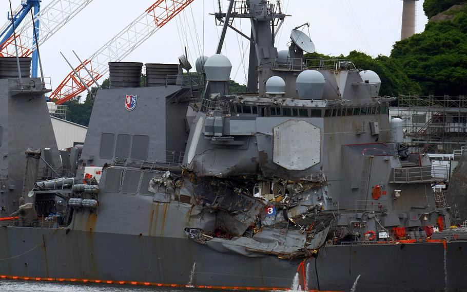 The Navy destroyer USS Fitzgerald, which was involved in a collision with a merchant ship Saturday, June 17, 2017, is seen at Yokosuka Naval Base, Japan, Sunday, June 18, 2017.