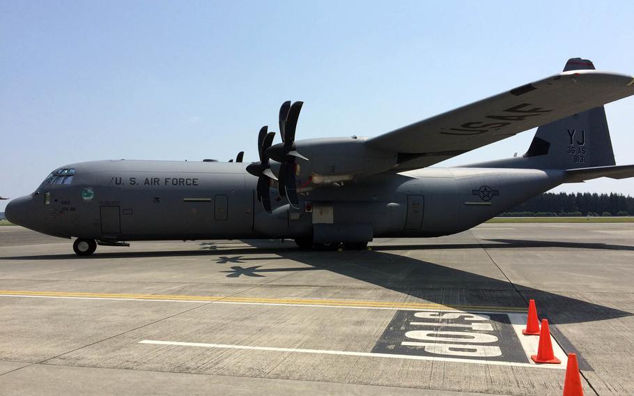 A C-130J Super Hercules cargo plane sits at Yokota Air Base, Japan, Friday, June 23, 2017.