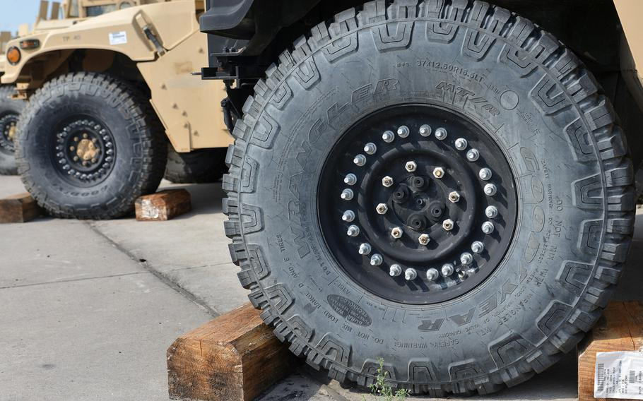 A view of a Humvee's front wheel, with all the nuts and bolts needed to hold it together. Thousands of pieces of equipment are stored at Coleman Barracks in Mannheim, Germany as part of the U.S. Army's prepositioned stocks operations.