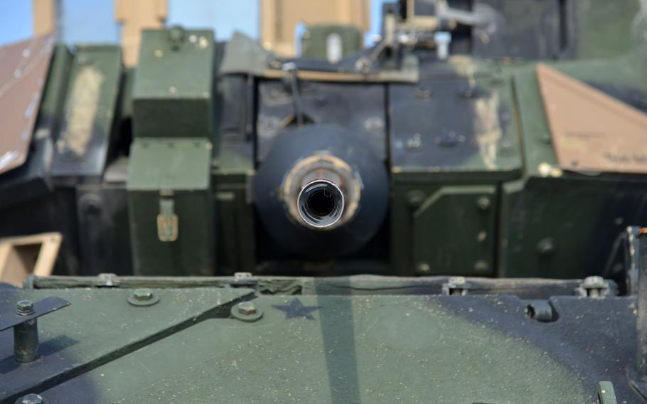 Looking down the barrel of a Bradley Fighting Vehicle's M242 gun prepositioned at Coleman Barracks in Mannheim, Germany.