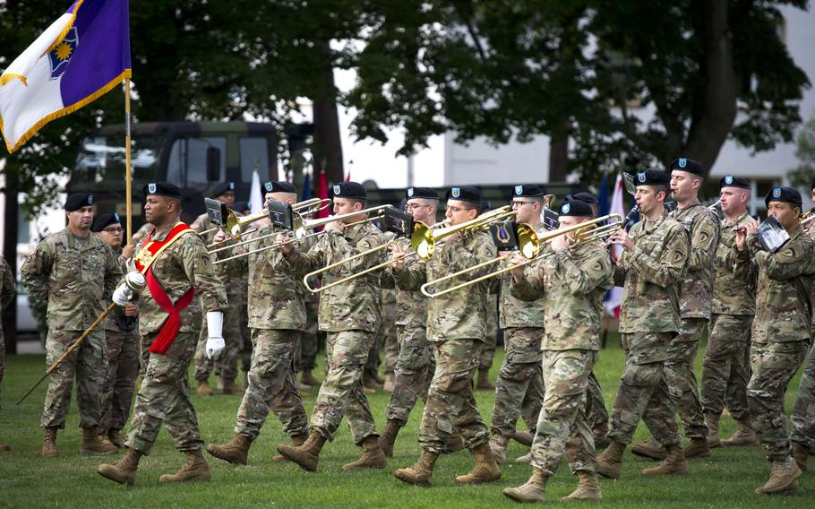 The U.S. Army Europe Band performs during the 7th Mission Support Command change-of-command ceremony at Daenner Kaserne, Germany, on Friday, Aug. 4, 2017.