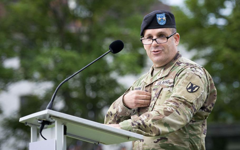 Maj. Gen. Steven Shapiro, 21st Theater Sustainment Command commander, speaks during the 7th Mission Support Command change-of-command ceremony at Daenner Kaserne, Germany, on Friday, Aug. 4, 2017.