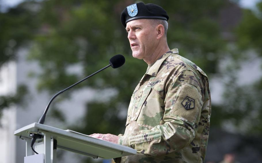 Brig. Gen. Steven Ainsworth, outgoing 7th Mission Support Command commander, speaks during the MSC's change-of-command ceremony at Daenner Kaserne, Germany, on Friday, Aug. 4, 2017. Ainsworth is headed to Belle Chasse, La., to take command of the Army Reserve?s 377th Theater Sustainment Command.